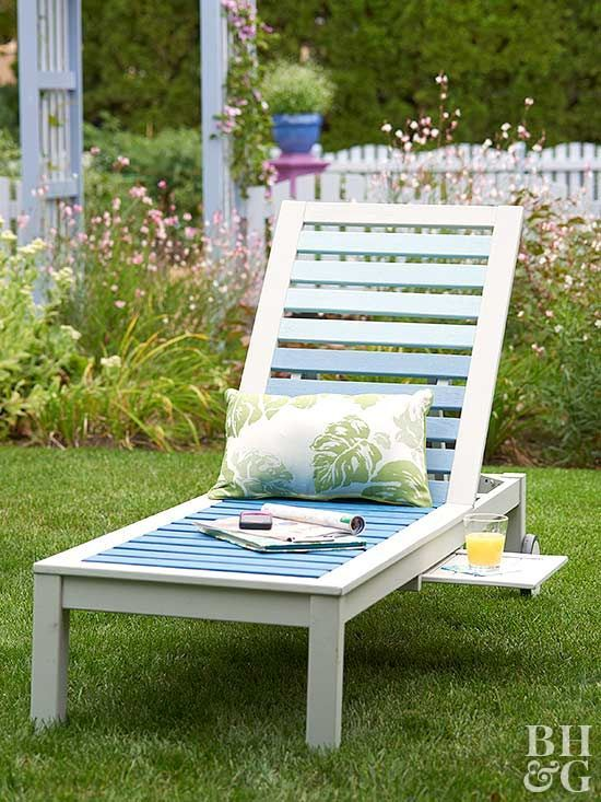 Put a fresh face on a tired wood chaise lounge with a color-block paint job in a fashionable ombre effect.