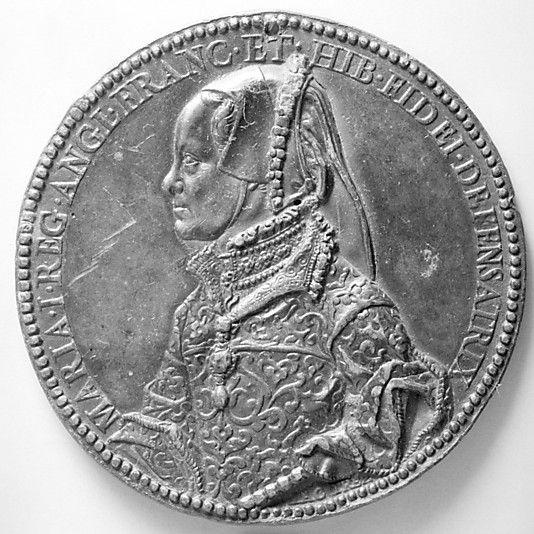 Mary Tudor, Queen of England  Medalist: Jacopo Nizolla da Trezzo  c. 1555  Reads: Maria I Reg(ina) - Angl(iae) - Franc(iae) - Et - Hib(erniae) - Fidei Defensatrix.   [Mary I, Queen of England, France and Ireland, Defender of the Faith.]