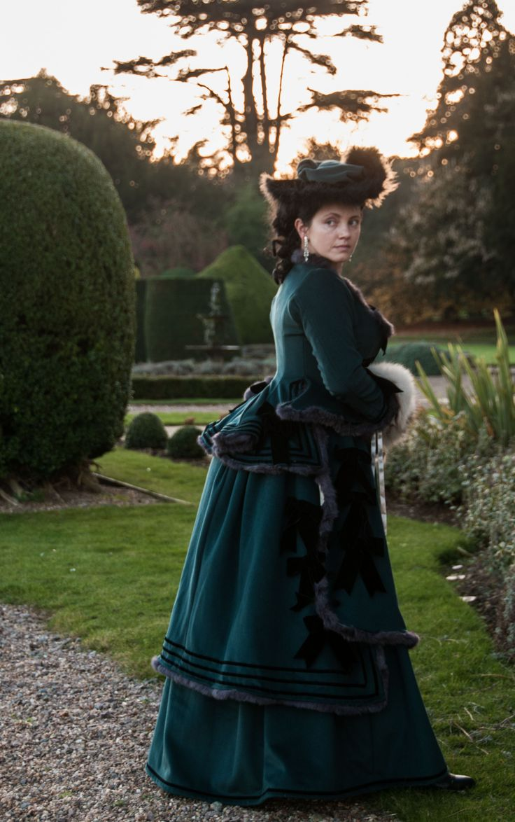 1876 february - Victorian bustle dress in wool, with ... Victorian Bustle Gowns
