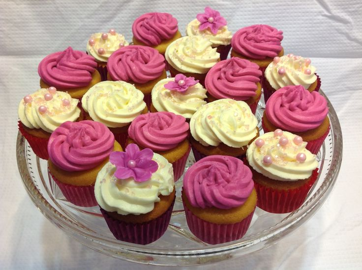 Mini high tea cupcakes, pink, white flowers & frosting.