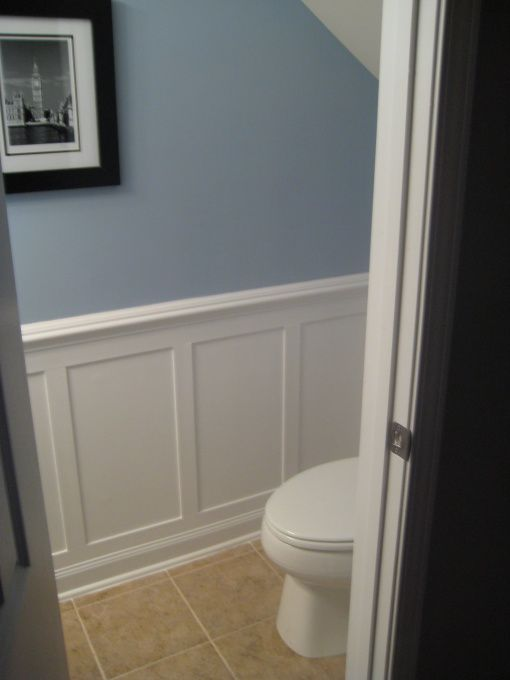 Half bath redo with moulding i 39 d love to do this to ours for Redoing bathroom walls