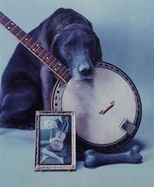 "William Wegman, ""Blue Period with Banjo,""1980. Polaroid ER print"