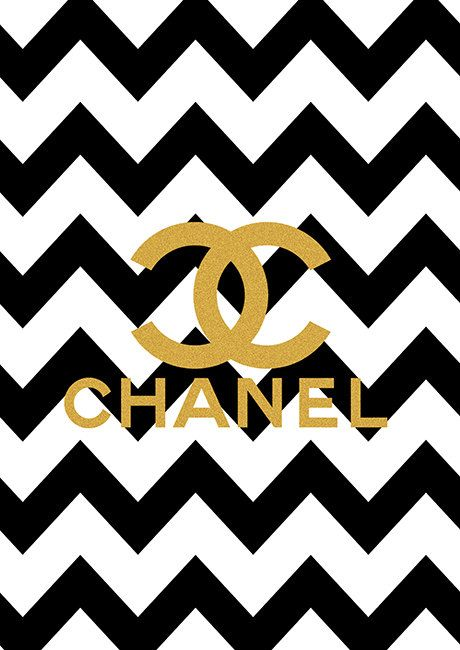 Limited edition Gold Chanel Logo Black Chevron Print on Etsy, $18.00 ~ Ʀεƥɪииεð вƴ╭•⊰✿ © Ʀσxʌиʌ Ƭʌиʌ ✿⊱•╮
