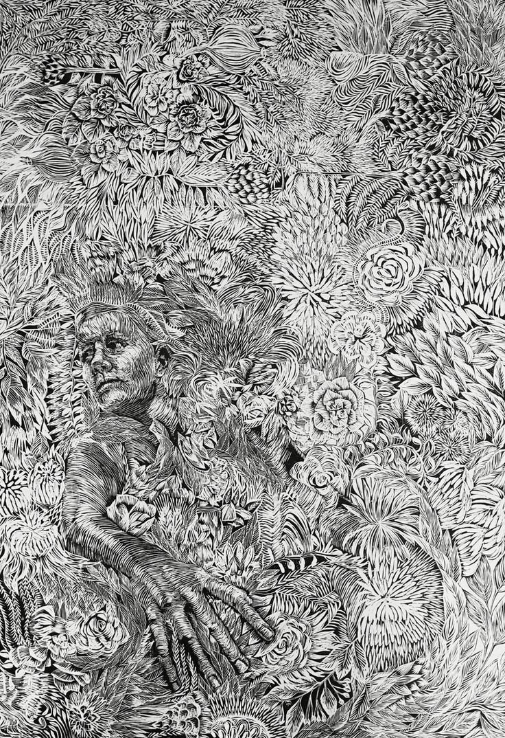 Huge woodcut. Depicts a person drowning in wreaths.  Still needs refining before final print. Suzette van Dorsser