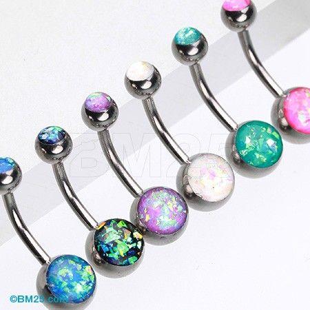 Opal Glitter Shower Basic Belly Button Ring