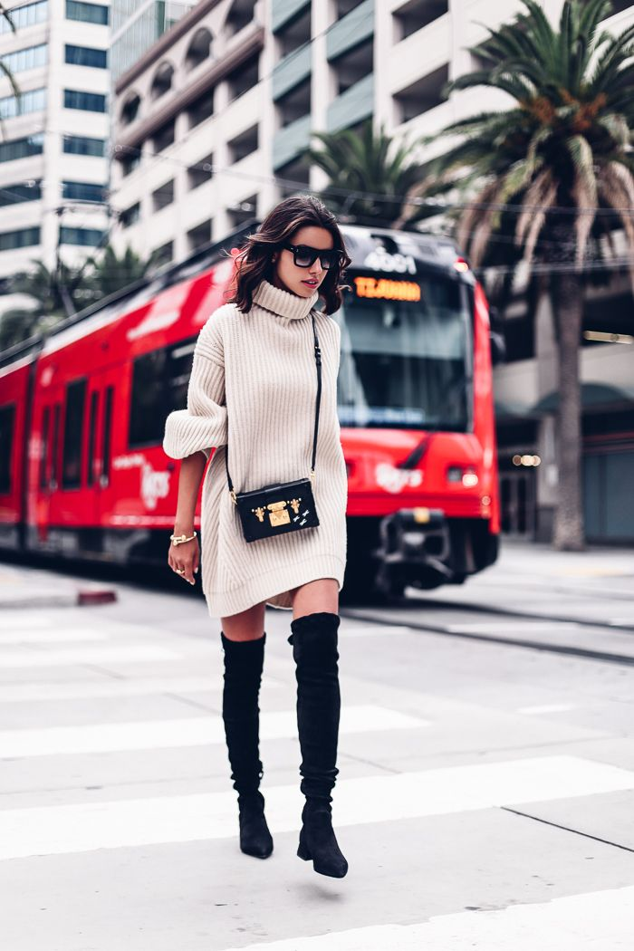 ACNE STUDIOUS Isa sweater, DITA Daytripper sunglasses, OLGANA PARIS L'officier suede over-the-knee boots, LOUIS VUITTON Petite Malle in Noir epic leather, J.W. ANDERSON Gold plated cuff, LARSSON & JENNINGS Lugano leather strap watch