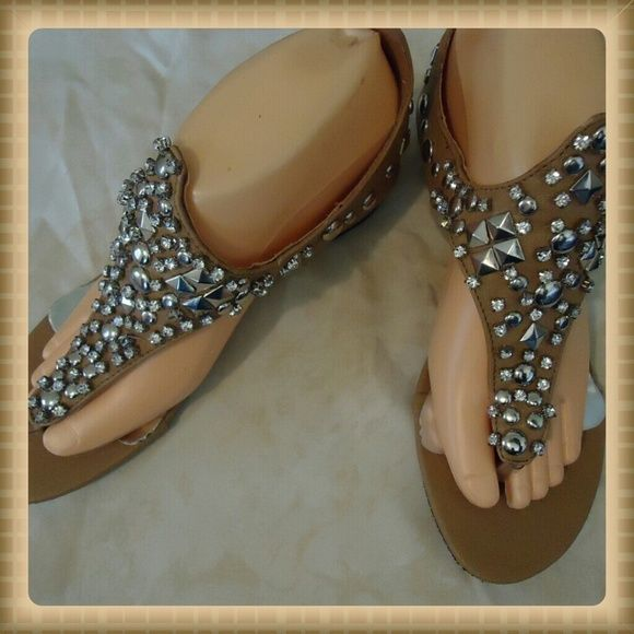 Bling Sandals (sz 8) Cute tan/khaki colored sandals from the Fantasy Collection!!! Fantasy  Shoes Sandals