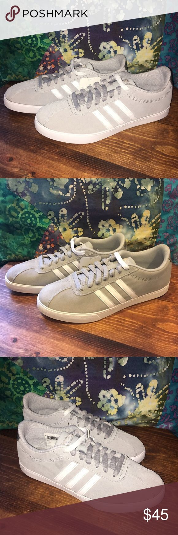 NWT Adidas Neo Sneaker NWT. Adidas Neo Courtset Sneaker. Suede upper. Grey/white. Comes with both white and grey laces! Size 8. New with tags!😘 Adidas Shoes Sneakers