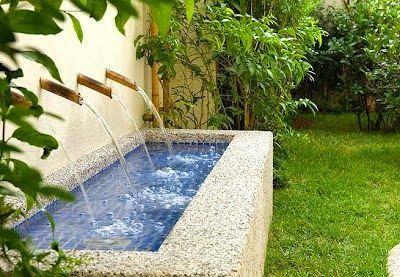 Fonte de parede para jardim.  Fotografia: http://www.jeitodecasa.com