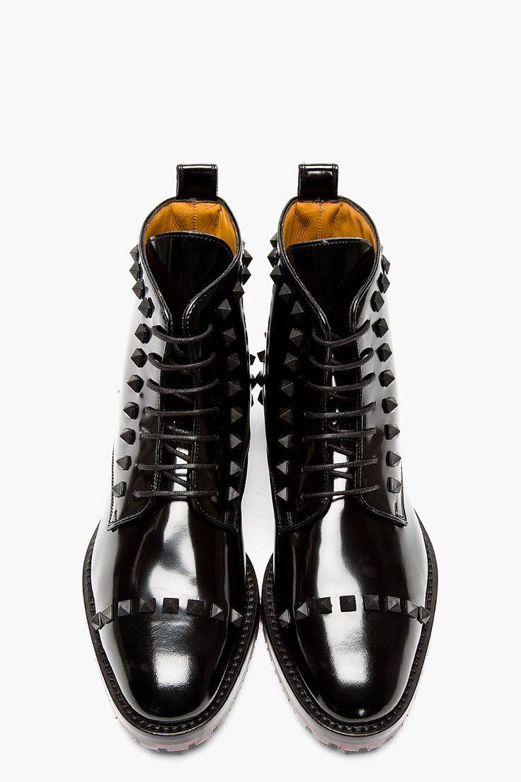 VALENTINO Black Leather RUBBER STUD BOOTs, I really lik shoes from this  site but its crazy expensive, when something u buy costs a paycheck its  crazy