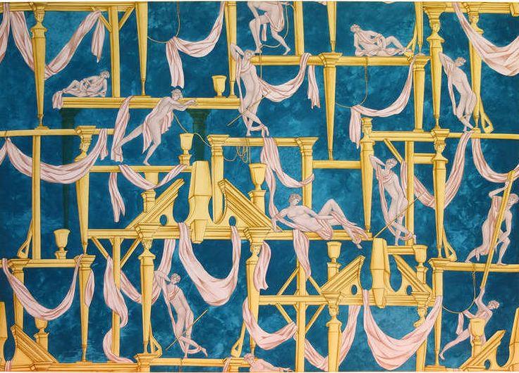 Gio Ponti's 'La Casa Degli Efebi' Fabric Panel by Avigdor