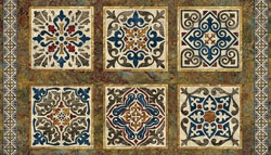 at Hancocks of Paducah -- Designed by Ro Gregg for Fabriquilt. Ro Gregg highlights the sun baked colors of rock, stone, and tile with this group of Marblehead and the Tuscan tiles. Realistic stone textures make great elements and coordinates. Panel measures 24 x 44.