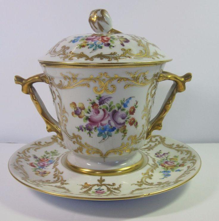 Vintage Le Tallec Limoges porcelain Trembleuse cup, bonbonniere with lid and saucer - Floral and gold design on white porcelain - Lidded porcelain cup - France, 1966