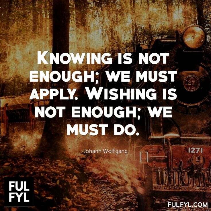 Knowing is not enough; we must apply. Wishing is not enough; we must do.	Johann Wolfgang