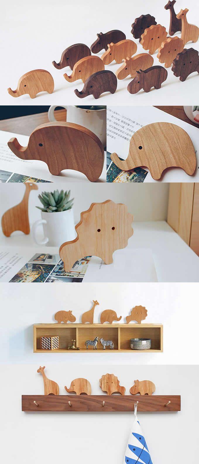 Simple original modern wooden animal desktop ornaments handmade wood Elephant/Giraffe/Hippo/lion/ figurine new creative home decorations