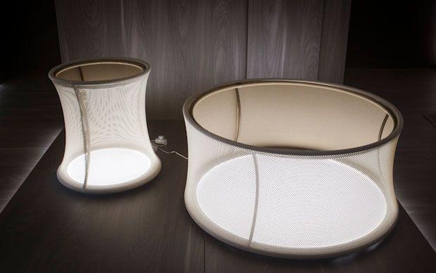 """Pulsar Large"" and ""Pulsar Pouf"" designed by Thesia Progetti for NATEVO #Lighting #LED #Lights #LEDlights #Inspiration #LEDs #livingrooms #livingroom #ideas #homedecor #interiordesign #table"