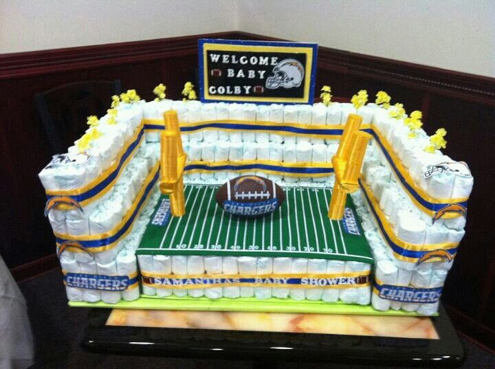 My football stadium diaper cake i built.