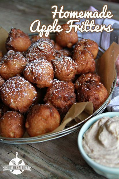 Homemade Apple Fritters with Honey Cinnamon Cream Cheese recipe from Southern…