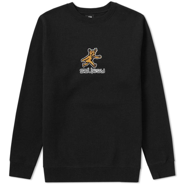 STUSSY STUSSY BEAR APPLIQUE CREW SWEAT. #stussy #cloth #