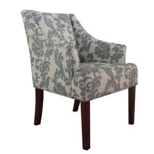 Armen Living LC2988CLGR Accent Chair in iKat Blue/Gray Floral LC2988CLGR