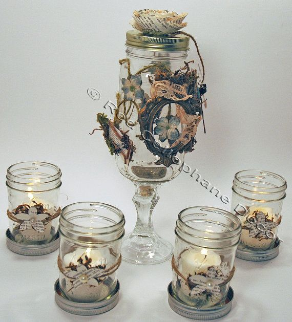 Shabby Chic Wedding Centerpiece, DIY Wedding Decor, Rustic Wedding Decor, Mason Jar Candleholders via Etsy