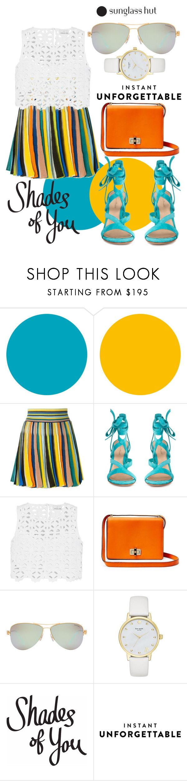 """Shades of You: Sunglass Hut Contest Entry"" by paulinako on Polyvore featuring moda, Missoni, Gianvito Rossi, Miguelina, Diane Von Furstenberg, Tiffany & Co., Kate Spade, sunglasshut, shadesofyou i instantunforgettable"