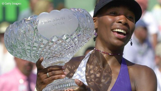 Venus Williams saved eight match points to beat Jennifer Capriati in the 2001 Sony Open Tennis final.