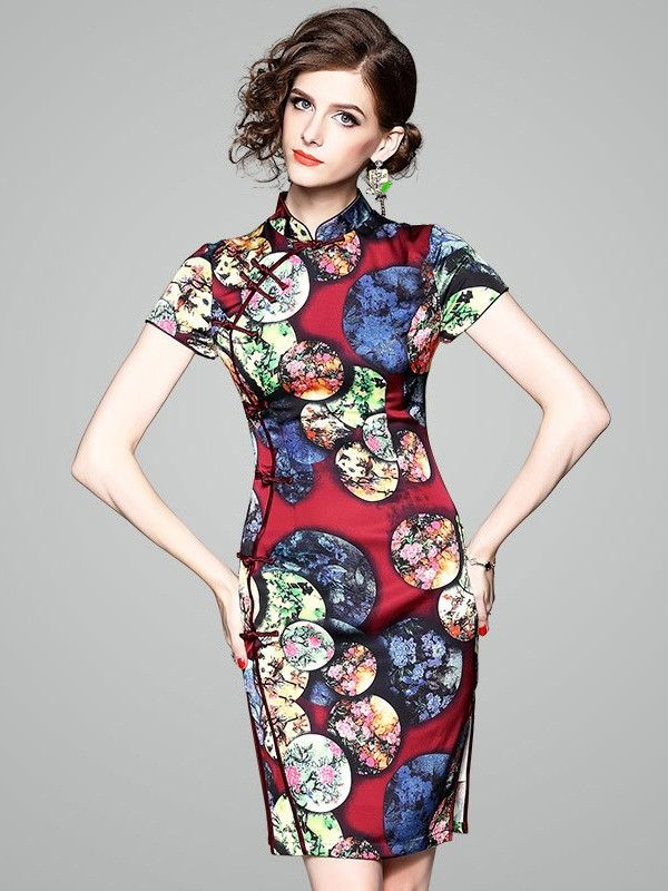 298d0d547cf0 Color Block Printed Qipao / Cheongsam Dress | Cheong Sam (or Quipao)