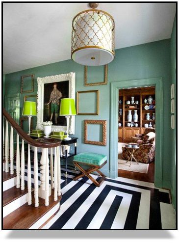 xWall Colors, Mint Green, Lights Fixtures, Empty Frames, Black And White, Interiors, Black White, Painting Floors, Painted Floors