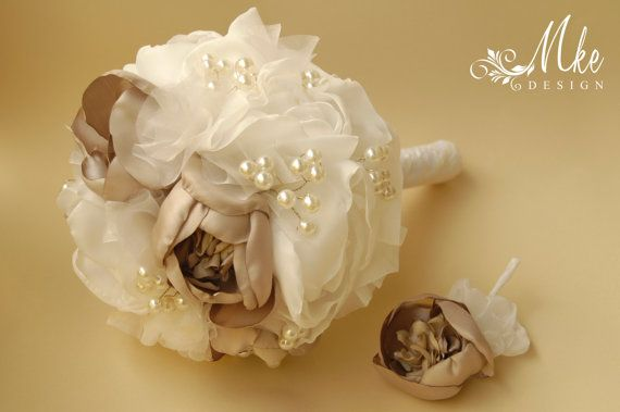 Ivory cream wedding bridal handmade bouquet with by MkeFlower