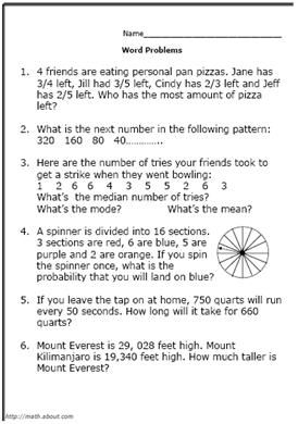 math problems for 5th grade 5th grade math worksheets: multiplication, division, place value, rounding, fractions, decimals , factoring, geometry, measurement & word problems no login required.