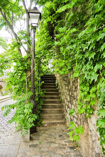 La très typique rue Saint-Vincent dans le vieux Montmartre bordant le jardin Saint Vincent.
