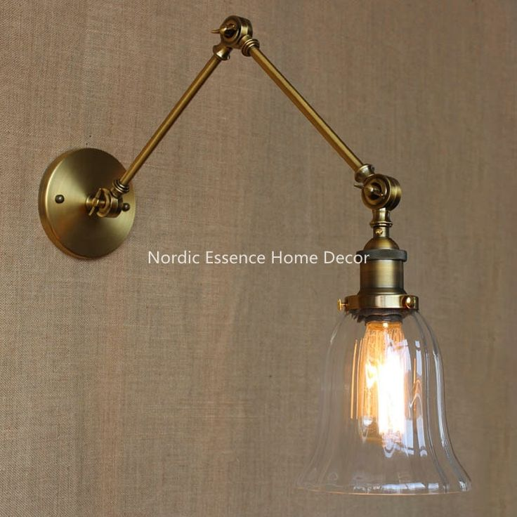 84.99$  Buy now - http://alifjn.shopchina.info/go.php?t=32695112864 - Nordic EU LOFT American country Milan bronze plated glass balcony decorated double mechanical arm long wall lamp sconce lighting  #magazineonlinebeautiful