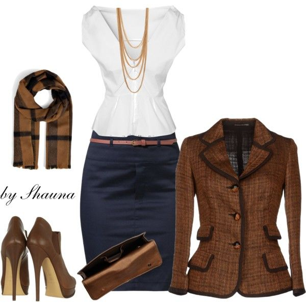 Burberry and tweed, created by shauna-rogers on Polyvore - love everything, but the scarf. The shirt neckline will need to be higher.