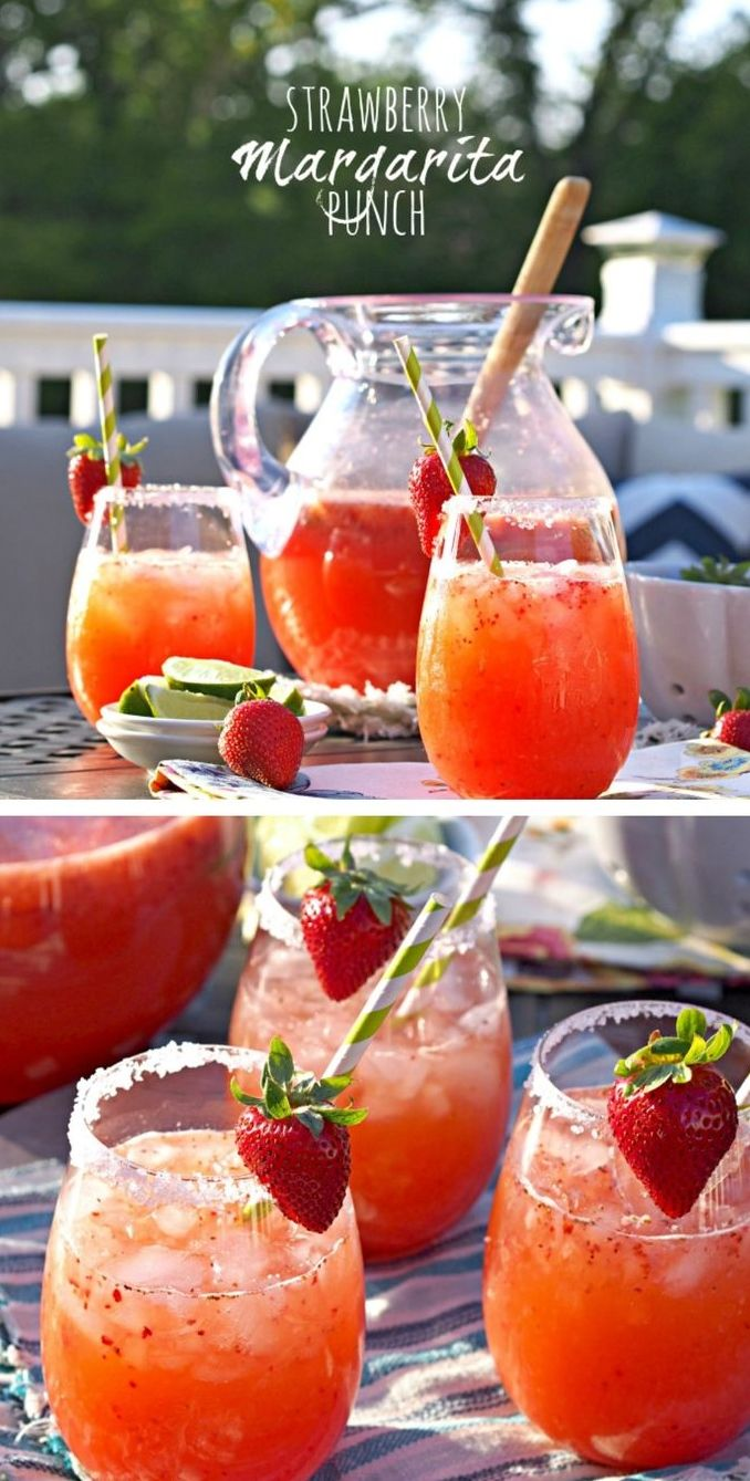 16 ounces strawberries, chopped. (or 16 ounces frozen strawberries for easier mixing) 1 can frozen limeade concentrate 4 cups water 1-2 tablespoons agave nectar (depending on how sweet you want the punch) 1½ cups good-quality tequila (I love Sauza!) 2 cups orange juice 4 cups strawberry or diet strawberry soda ¼ cup sugar