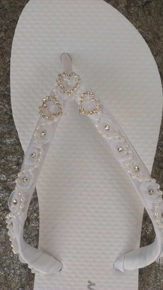 Heart Bridal Flip Flops Size 5 thru 11 by IslandToes on Etsy, $50.00