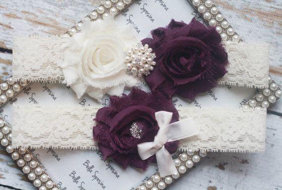 Eggplant Purple Wedding Garter - Bridal Garter and Toss Garter -  Rhinestone and Pearl on Etsy, $22.00
