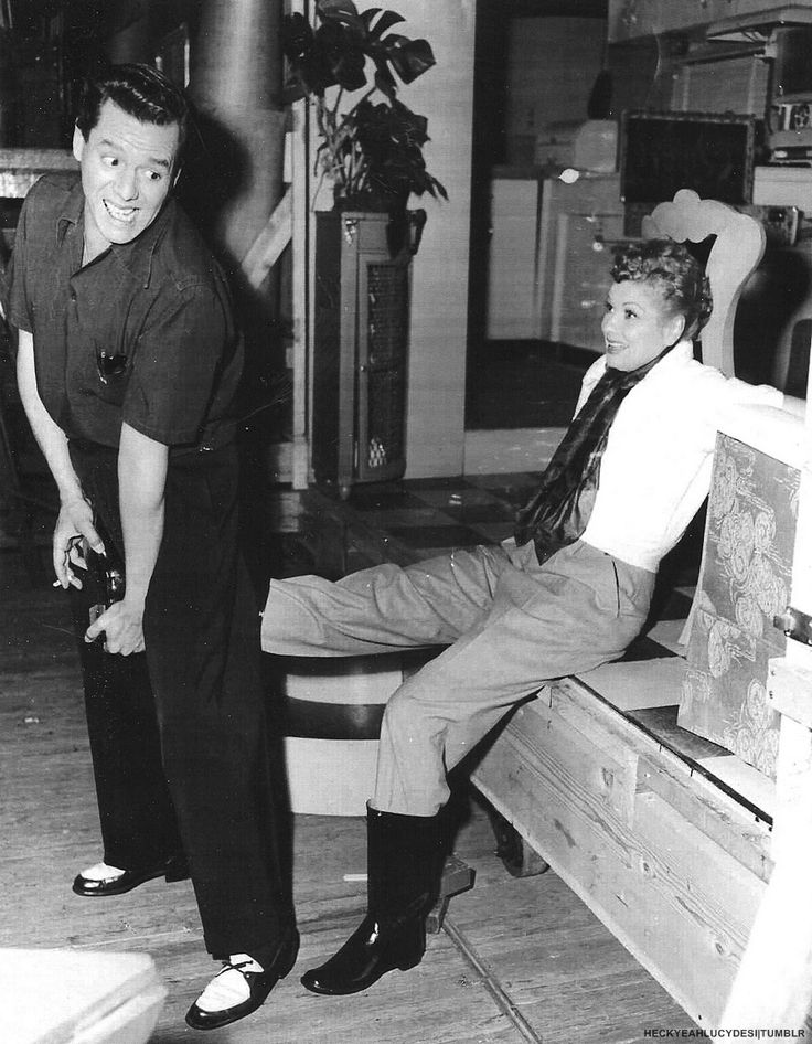 Lucy and Desi on the set of The Long, Long Trailer (1953)