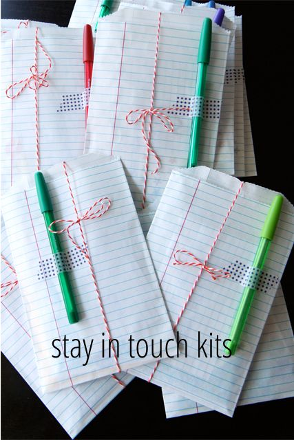 Such a cute idea!! Stay in touch kits---these are great to give to the kids friends on the last day of school, or before a big  move. So cute!!!  Salty Pineapple |life + pineapple tidbits|