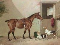 Скачать обои животные, Colin Graeme Roe, лошадь и гончие собаки 1600x1200