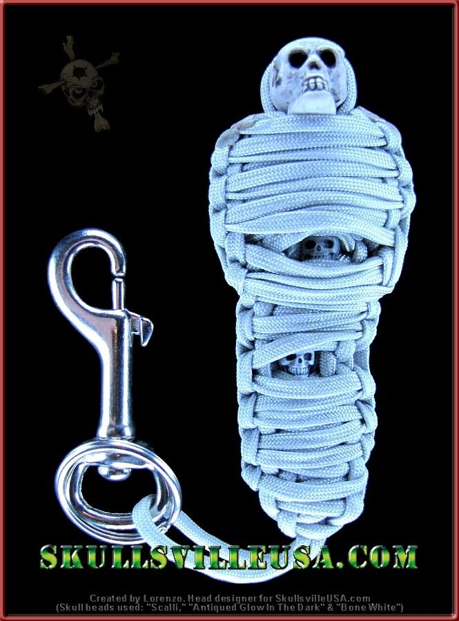 Paracord mummy family created with skull beads from SkullsvilleUSA.com