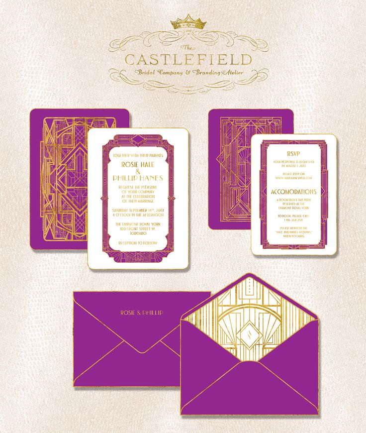 2139 best wedding stationery signage images on pinterest gatsby electric violet art deco wedding invitations by castlefield couture graphic design atelier stopboris Gallery
