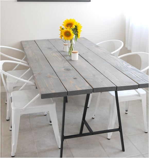 diy table creature comforts  Ikea legs and reclaimed wood