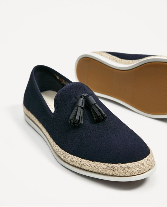 Image 4 of BLUE LEATHER LOAFERS WITH JUTE SOLES from Zara