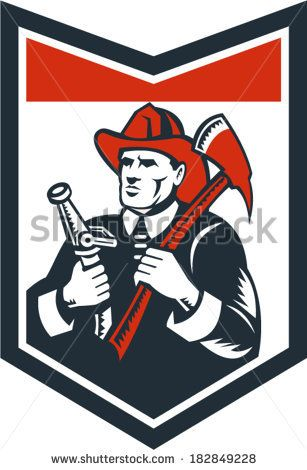 Illustration of a fireman fire fighter emergency worker looking up holding fire hose and fire axe inside shield done in retro woodcut style.
