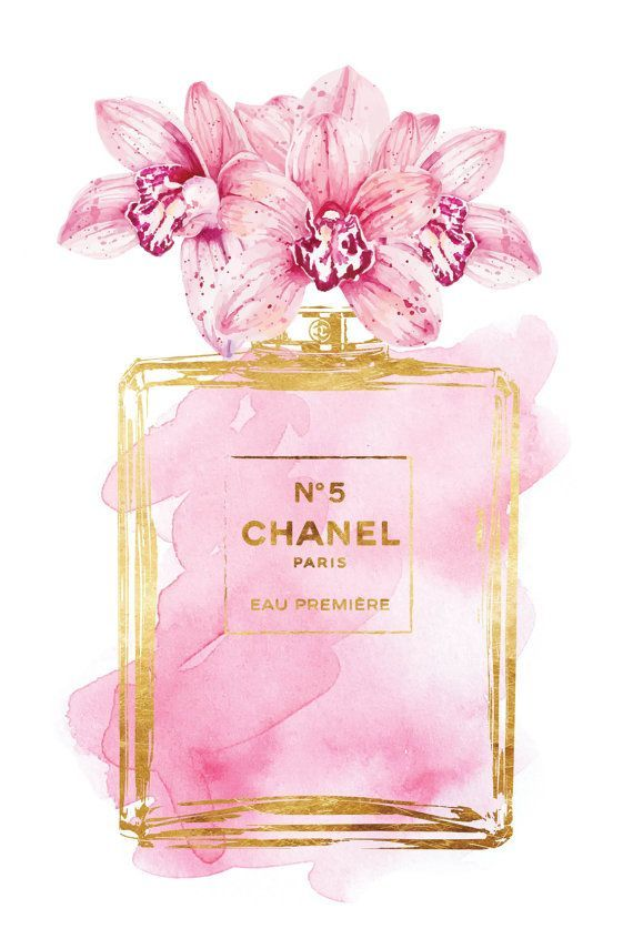 Chanel No5 Printed Fashion Poster Watercolor Pink Orchid