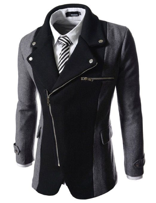 Mens casual rider style slim zipper blazer jacket
