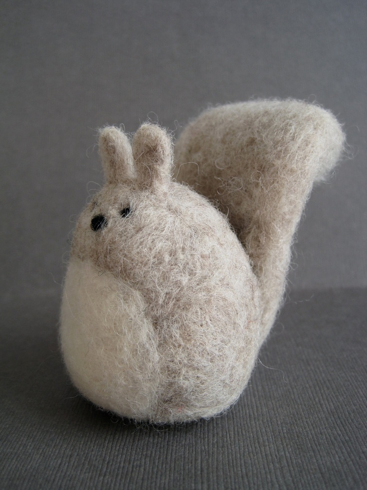 Grey Squirrel - Wool Needle Felted Sculpture. $28,00, via Etsy.