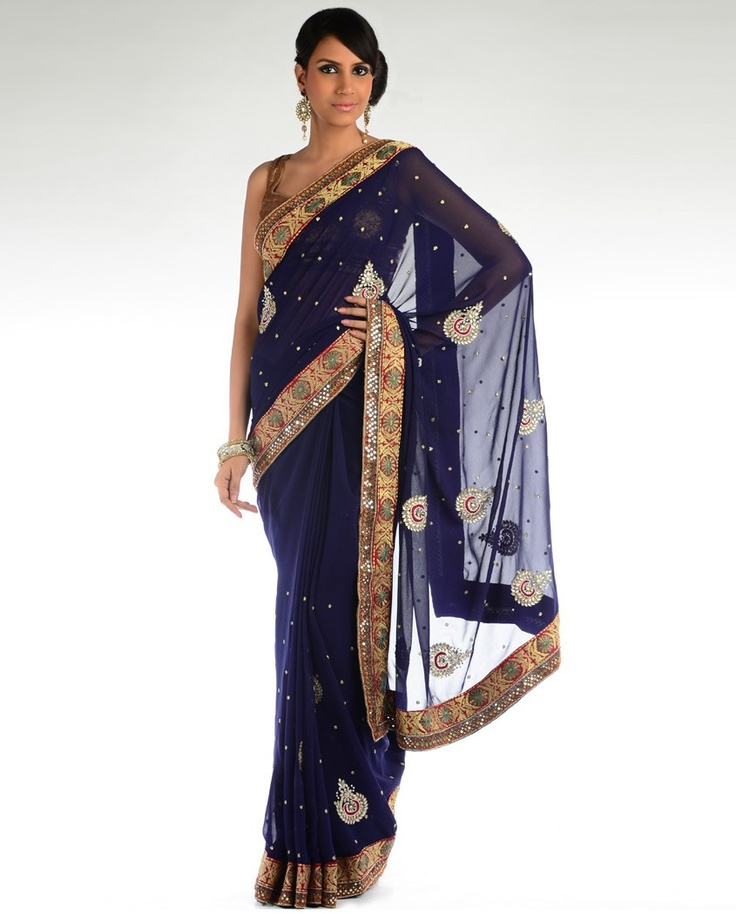 Floral Embroidery Royal Blue Sari