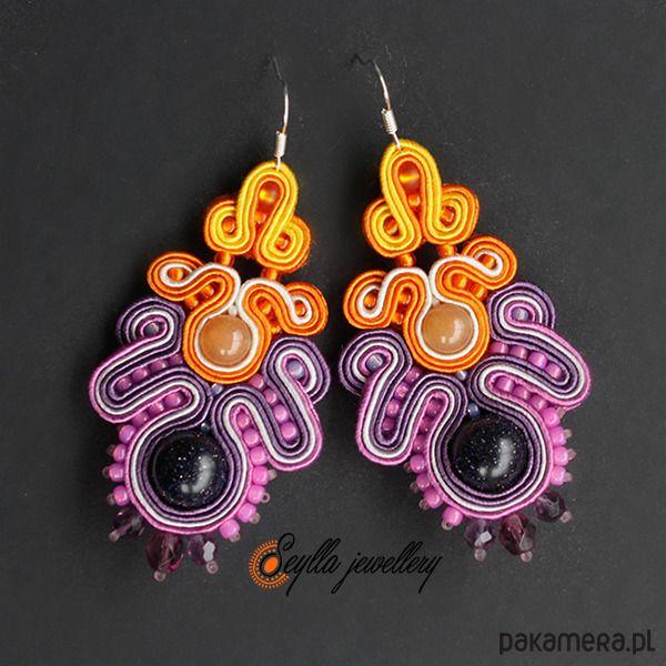 Soutache, Seylla jewellery, kolorowe kolczyki sutasz z kamieniami naturalnymi.